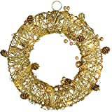 WeRChristmas Pre-Lit Rattan Warm LED Wreath with Beads and Pinecones, 30 cm - Gold
