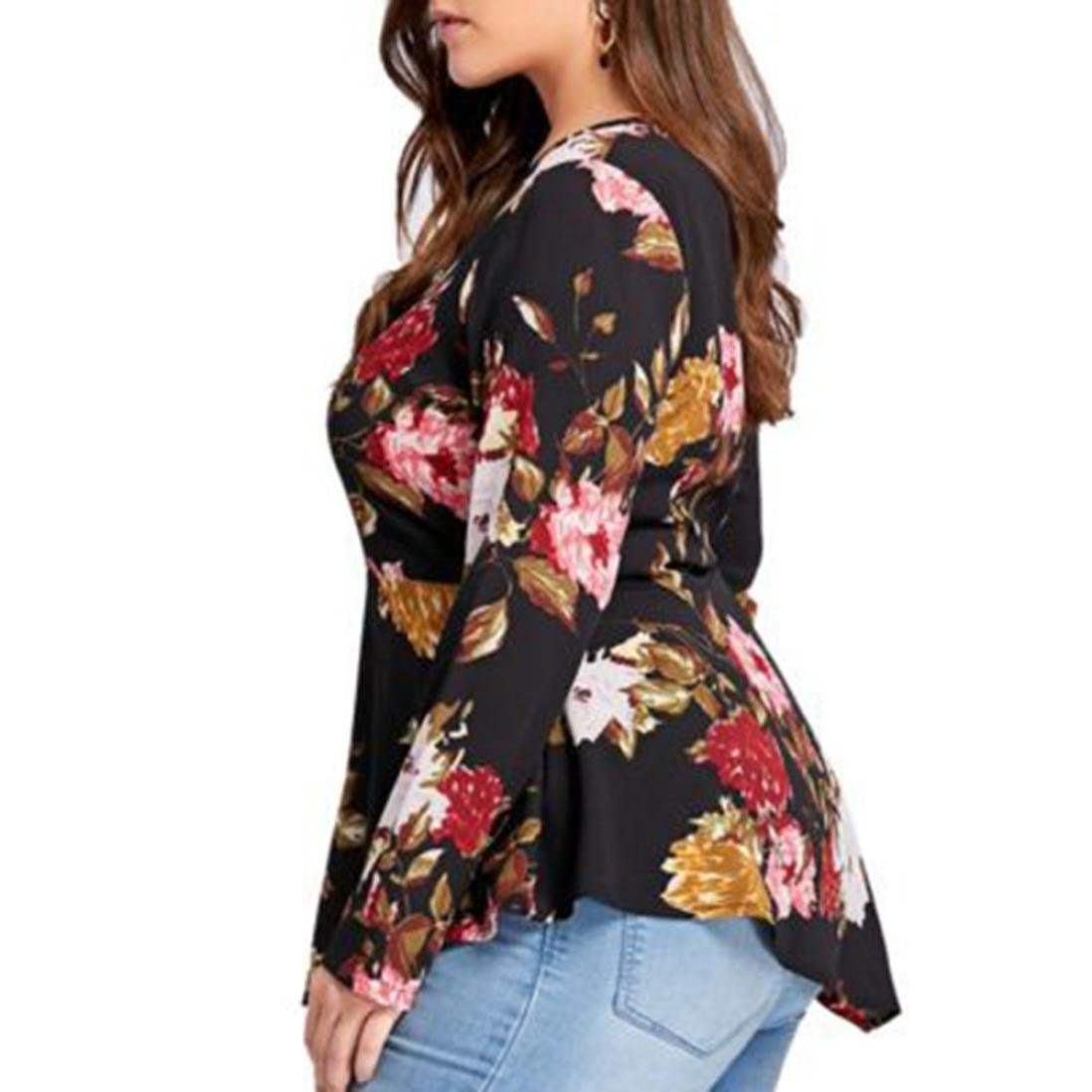 Womens Tops, Plus Size ANJUNIE Printed Long Sleeve Zipper V-Neck Chiffon Blouse at Amazon Womens Clothing store: