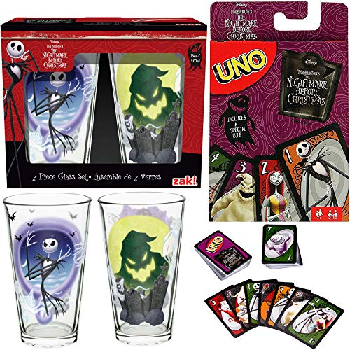 (Monster of Fright Go! Uno Card Game Nightmare Before Christmas Classic Matching + Character Jack Skellington Collectible Drink)