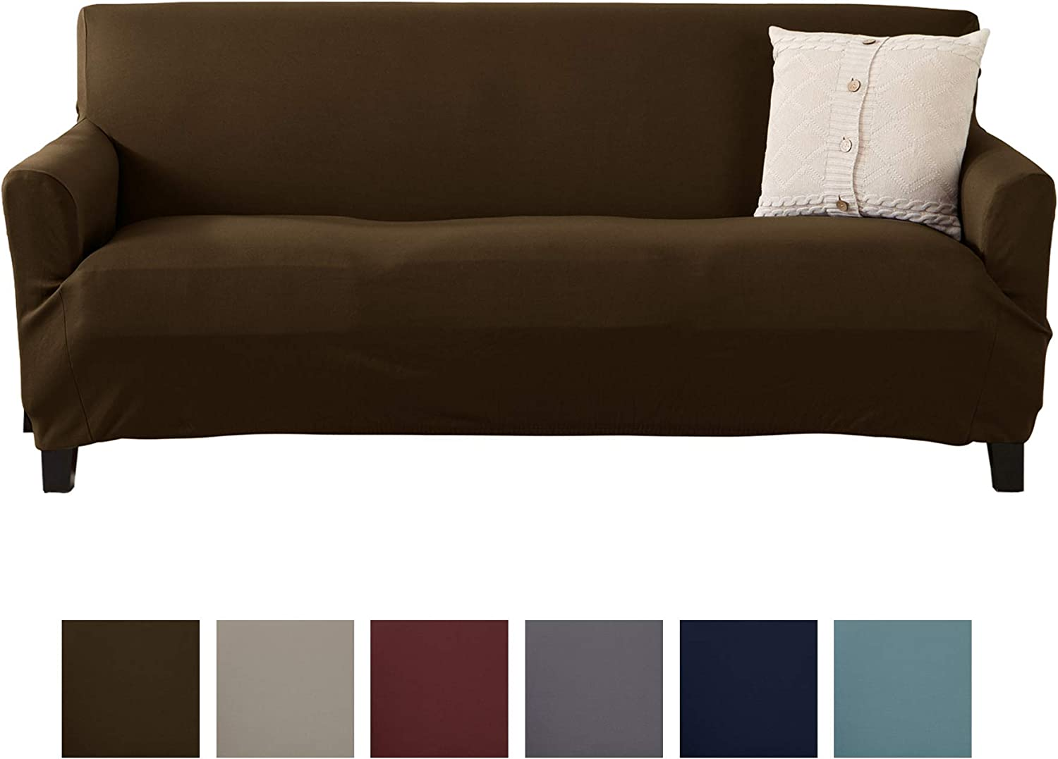 Amazon Com Home Fashion Designs Solid Twill Sofa Slipcover One Piece Stretch Couch Cover Strapless Arm Sofa Cover For Living Room Brenna Collection Slipcover Sofa Chocolate Solid Home Kitchen