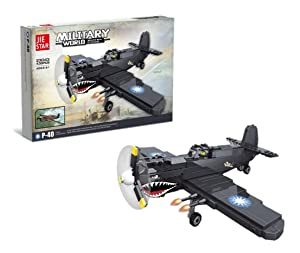 JIESTAR US Army WW2 Plane Pearl Harbor Defender Curtiss P40 Warhawk Building Blocks (438 pcs)