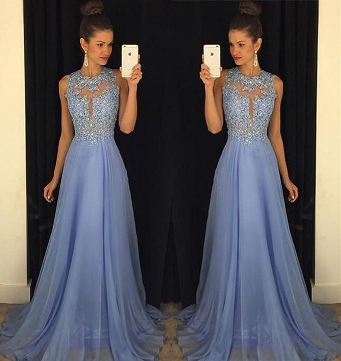 Amazon.com: Yangprom Gorgeous A-Line High Neck Lace Prom Dress ...
