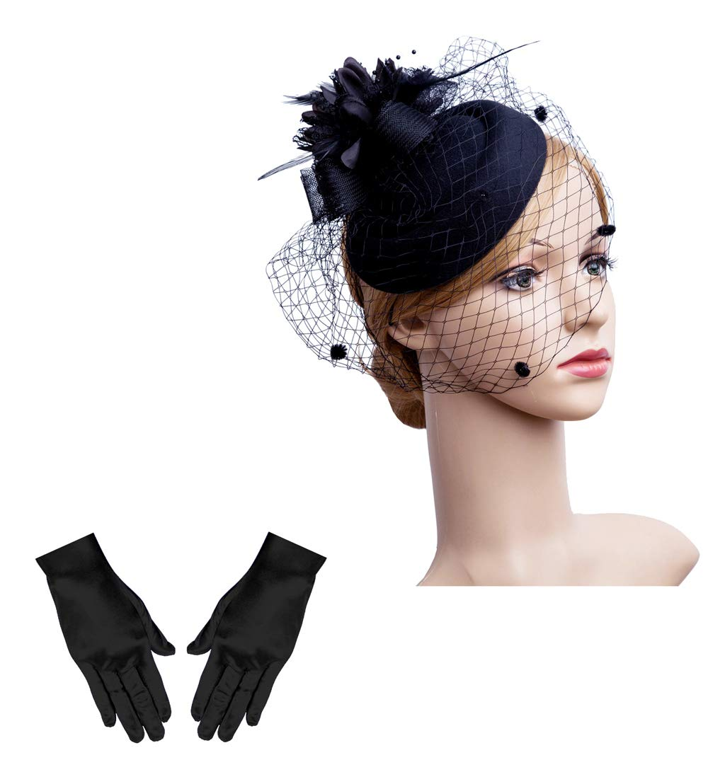 Cizoe Fascinator Hair Clip Pillbox Hat Bowler Feather Flower Veil Wedding Party Hat Tea Hat(1-black set)