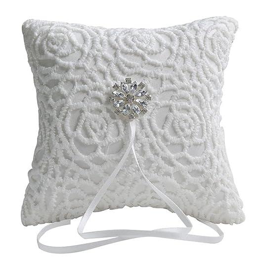 YTQ Zehui - Cojín para anillos de boda, encaje blanco, 15 x ...