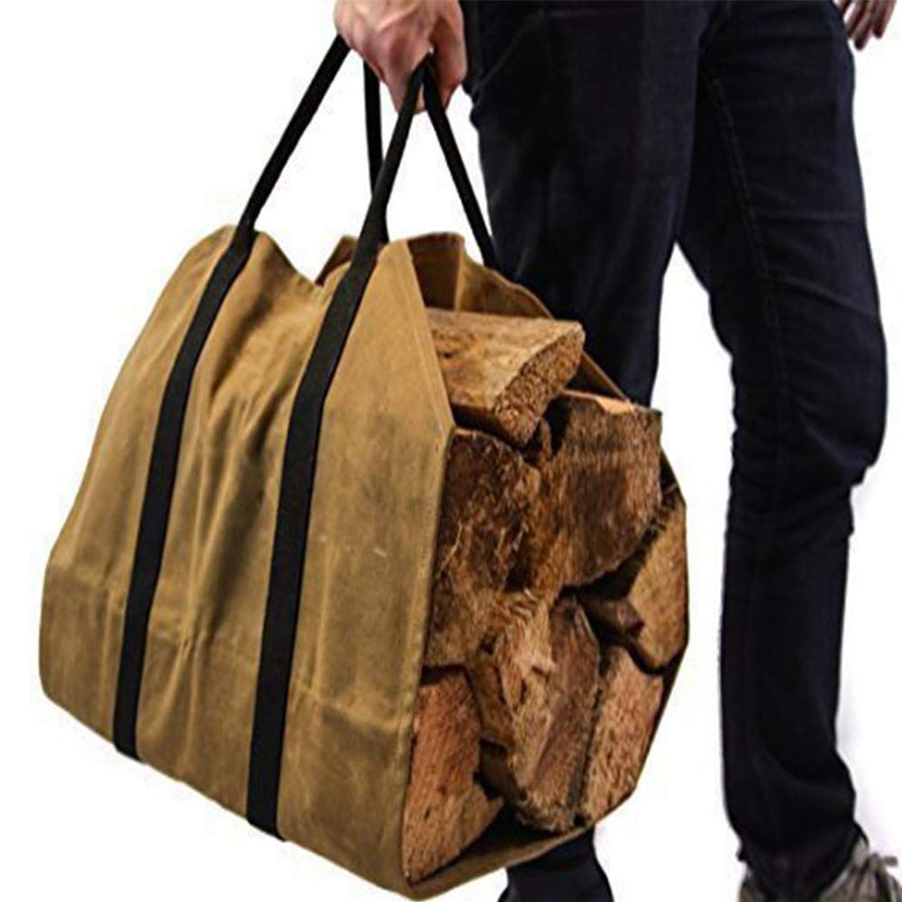 Bolsa de transporte grande de madera de yute, lona encerada para leñ a con asas para chimenea, suministros para el hogar lona encerada para leña con asas para chimenea Sedensy
