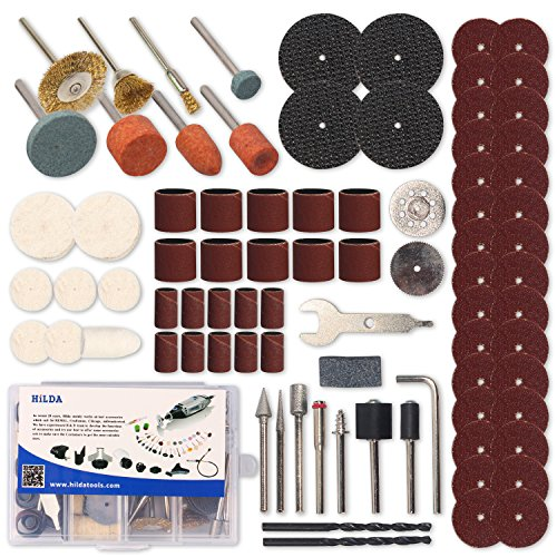 HILDA 92 Pcs Rotary Tool Accessories Kit, 1/8-inch Diameter Shanks Dremel Tool Accessories Multi-Functional Universal for Easy Cutting, Grinding, Sanding, Sharpening, Carving and Polishing