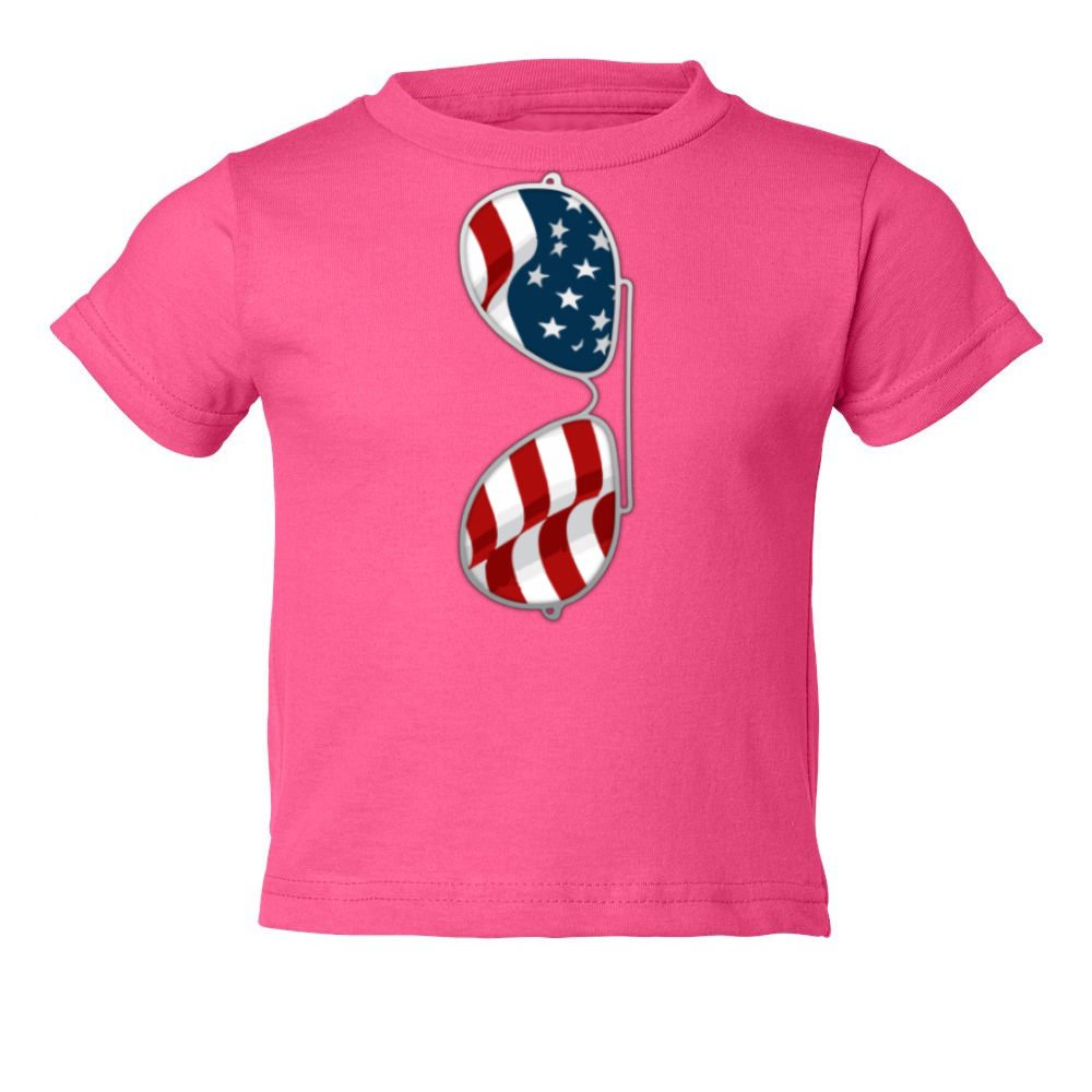 Sheki Apparel American Flag Sunglasses Aviator Little Kids Girls Boys Toddler T-Shirt (Pink, 2T)