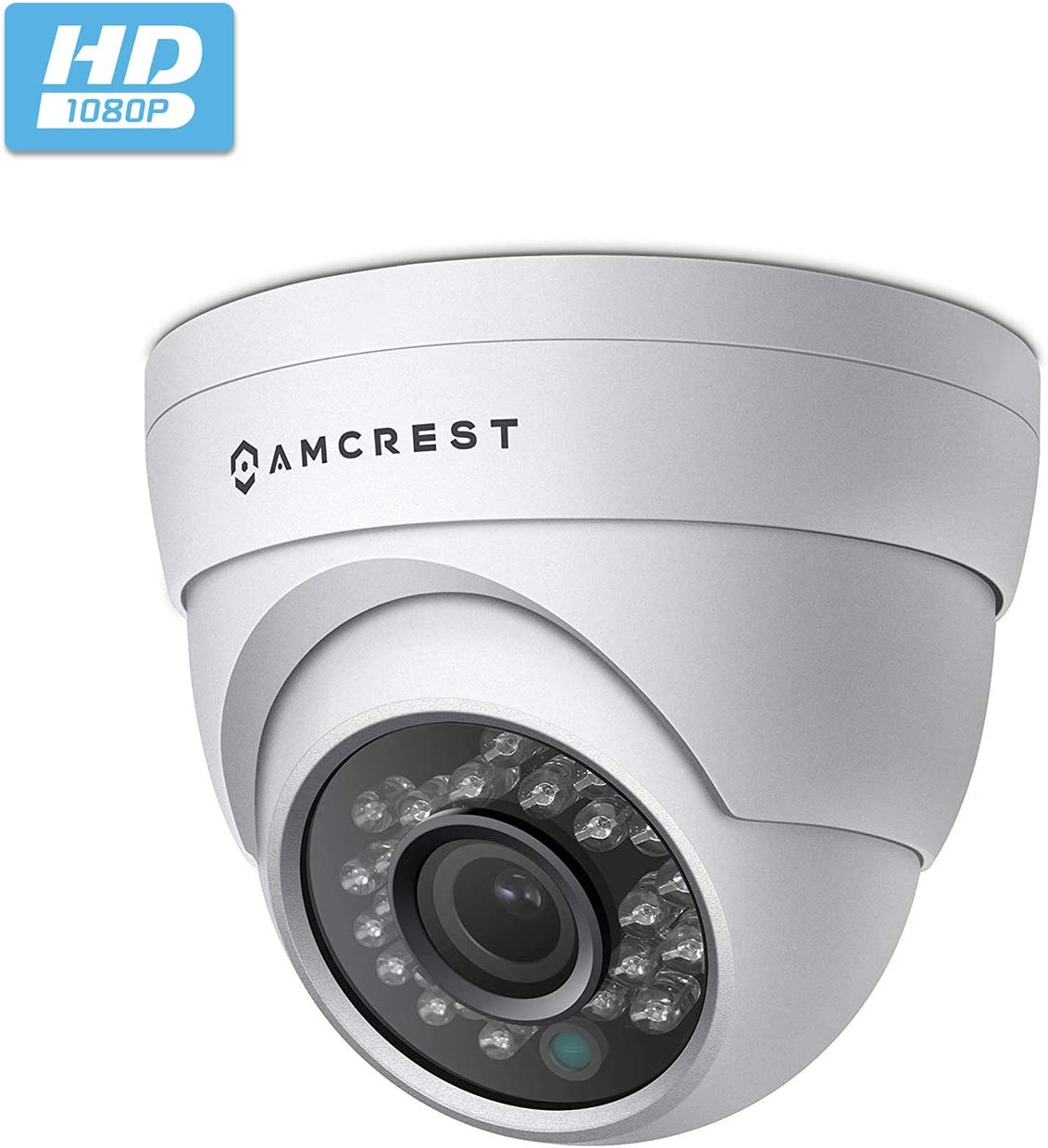 Amcrest Full HD 1080P 1920TVL Dome Outdoor Security Camera Quadbrid 4-in1 HD-CVI TVI AHD Analog , 2MP 1920×1080, 65ft Night Vision, Metal Housing, 3.6mm Lens 85 Viewing Angle, White AF-2MDT-36W