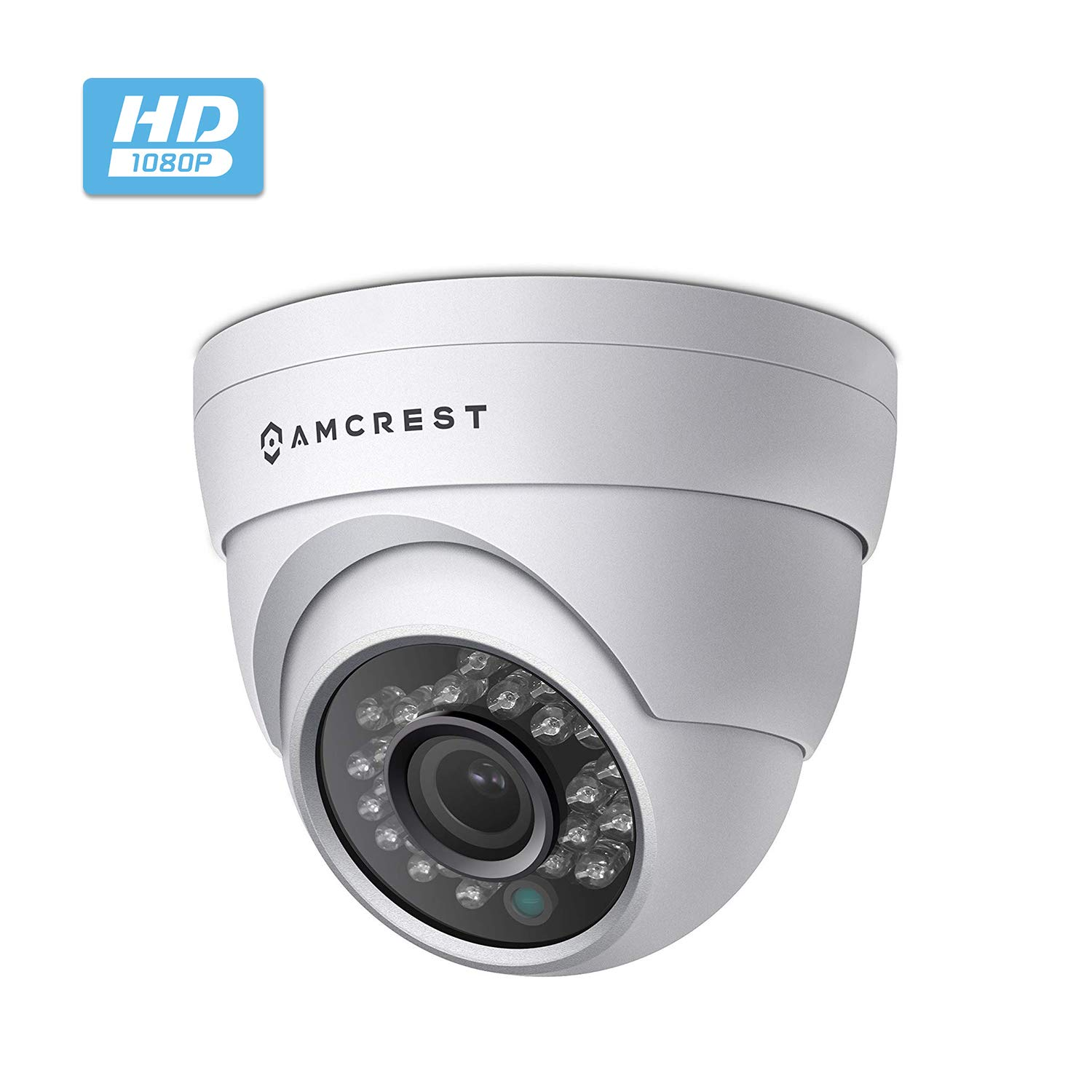 Amcrest Full HD 1080P 1920TVL Dome Outdoor Security Camera Quadbrid 4-in1 HD-CVI TVI AHD Analog , 2MP 1920×1080, 65ft Night Vision, Metal Housing, 2.8mm Lens 95 Viewing Angle, White AF-2MDT-28W