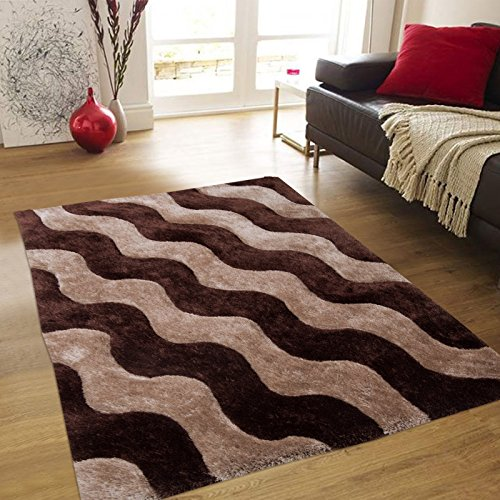 (Allstar 8x11 Chocolate Modern and Contemporary Rectangular Shag Rug with Beige Wavy Stripe Design (7' 5