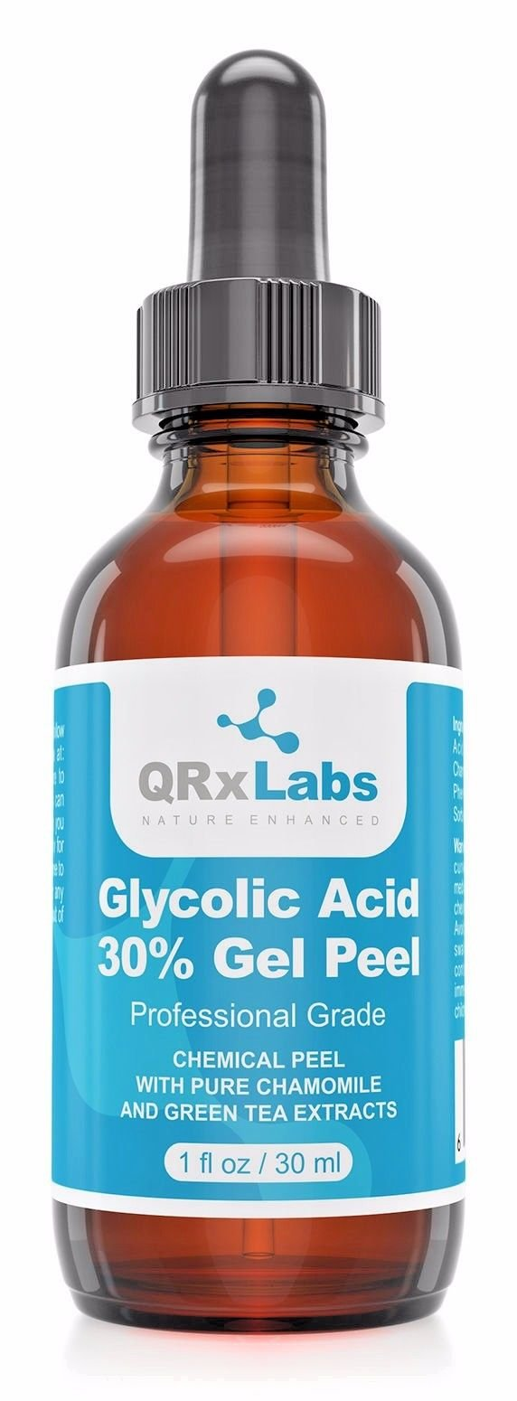 Glycolic Acid 30% Gel Peel with Chamomile and Green Tea Extracts – Professional Grade Chemical Face Peel for Acne Scars, Collagen Boost, Wrinkles, Fine Lines – Alpha Hydroxy Acid – 1 Bottle of 1 fl oz