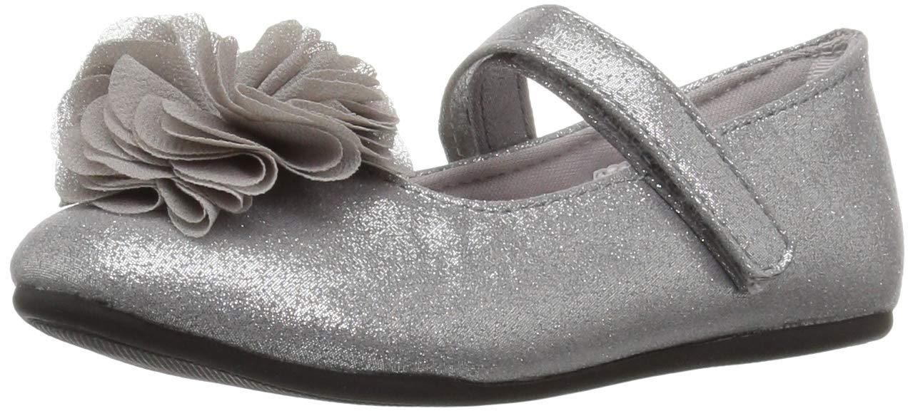 Baby Deer Girls' 02-6843 Mary Jane Flat, Silver, 6 Medium US Toddler