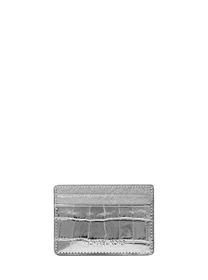 85725400df564 Amazon.com  Michael Kors Jet Set Travel Metallic Embossed Leather Card  Holder 32F7MF6D0E041  Watches