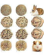 YeenGreen Speelgoed voor kleine dieren, 10 stuks, kleine dieren, kauwspeelgoed, hayballen, hooiballen, kauwspeelgoed, konijnen, mola snacks gras, rotan, kauwgrasballen voor cavia's, hamsters, hazen, knaagdieren