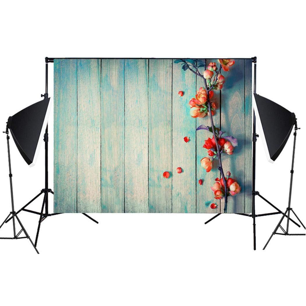 Hello22 Imitation Wood Grain Photography Backdrop 3D Photo Background Cloth for Birthday Party Wedding Decor, 49.2 x 31.5inch