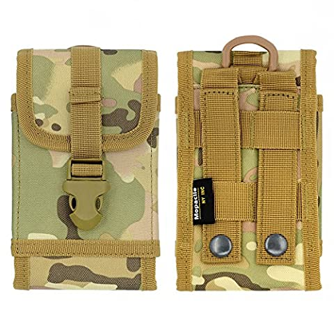 Premium Outdoor MOLLE Tactical Military Pouch Army Camo Waist Holster with Belt Clip for iPhone 6s 6 7 Plus 8 Plus ,Samsung Galaxy Note 8 S7 S8 S6 Edge (Fits will a Slim Hard Case Bumper Cover - Camo Cell Phone Cover