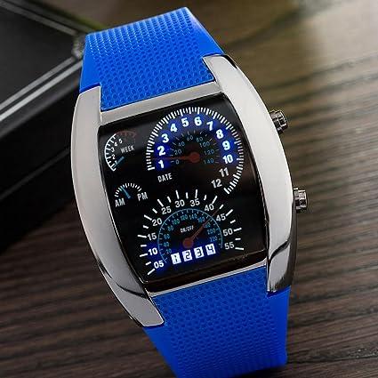 Huang Dog-shop Reloj Moda Hombres LED Fecha Silicona Pulsera Reloj Digital LED Reloj