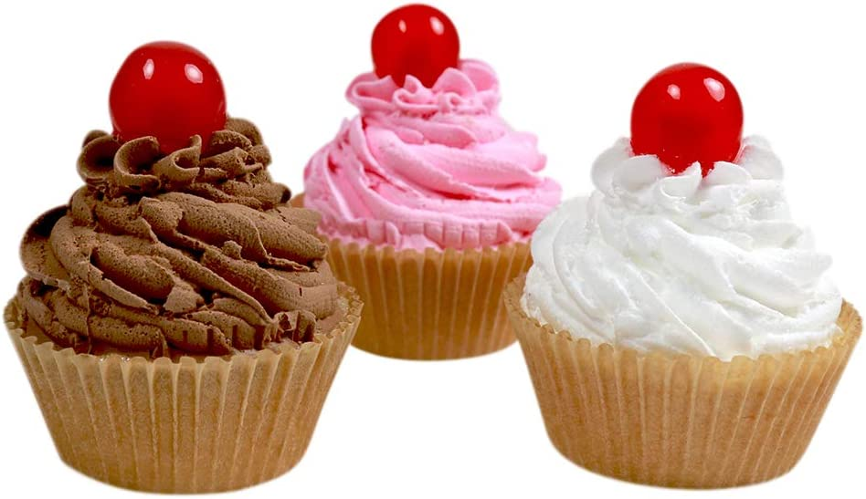 3 Fake Cupcakes - Vanilla, Chocolate and Strawberry Cupcakes with Maraschino Cherry on Top