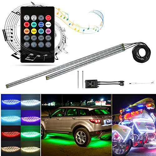 LinkStyle 4Pcs Car LED Neon Undercar Glow Light Underglow Atmosphere Decorative Bar Lights Kit Strip, 5050 SMD Underbody System Waterproof Tube with Sound Active for iPhone Android ()