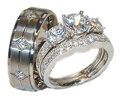 8b2a3470f69aaf EEJ His Hers 3 Piece 925 Sterling Silver & Titanium Wedding Ring Set (Womens  10