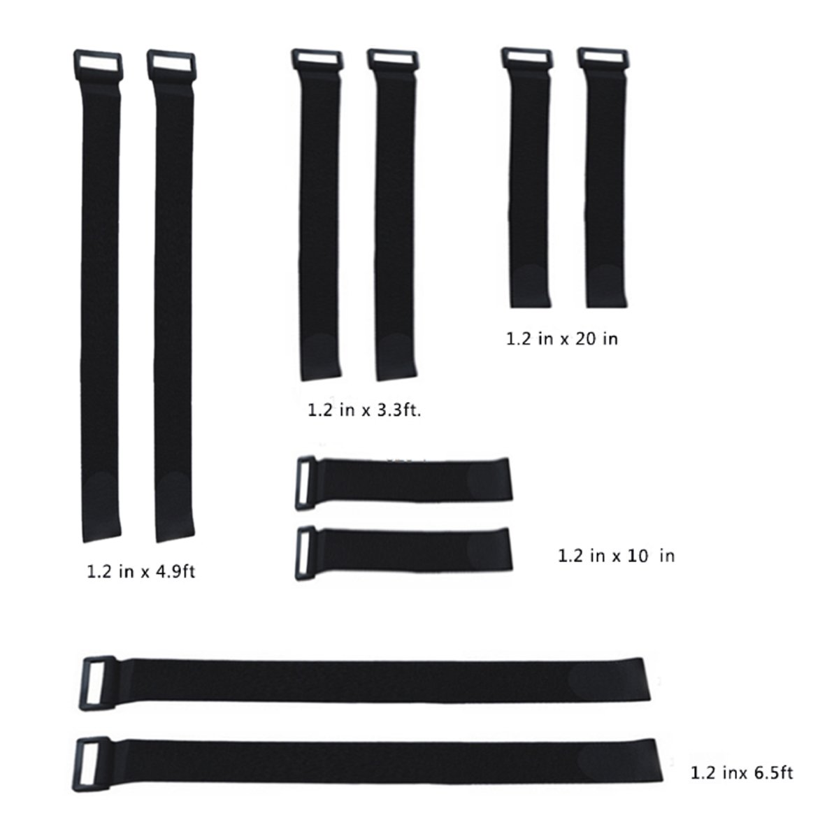 Aspire Wholesale Cable Management Straps With Plastic Buckle End, Assorted 5 Sizes-Black-20 Sets