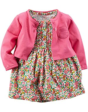 Girl 2-piece Bodysuit Dress & Cardigan Set (6m, Pink/flowers)