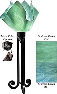 product image for Jezebel Radiance Torch Light. Hardware: Black. Glass: Seafoam Green, Flame Style