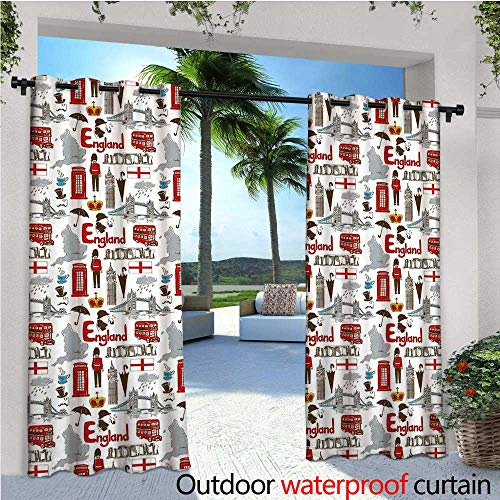 Stonehenge Ties - cobeDecor London Fashions Drape Fun Colorful Sketch Royal Guard Map Rain Famous Country Landmarks and Stonehenge Outdoor Curtain Waterproof Rustproof Grommet Drape W84 x L108 Multicolor