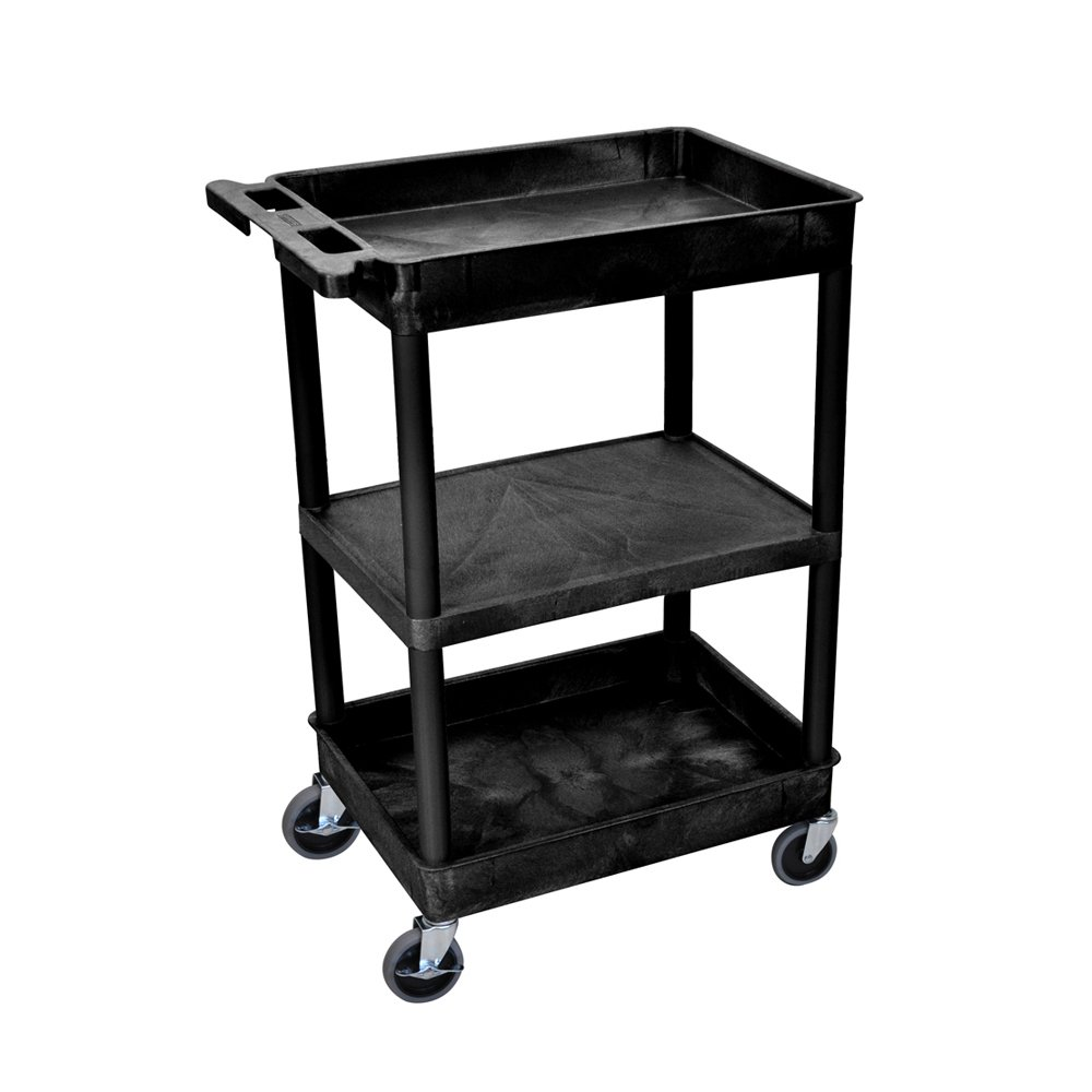 Luxor STC121-B Multipurpose Top/Bottom Tub and Flat Middle Shelf Cart - Black