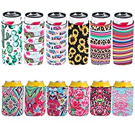 12 Pcs Coozies for Slim Cans Foldable Skinny Beer Can Cooler Sleeves Neoprene Beer Can Cooler Covers for Weddings…