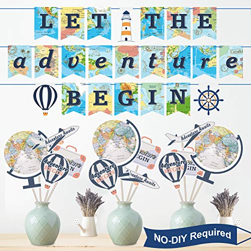 Bon Voyage Signs (47 Pieces Let The Adventure Begin Party Decoration Set, Bon Voyage Travel Themed Party Banner and Centerpiece Stickers, World Map Photo Booth Props for Retirement Travel Party Decorations)
