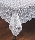 Carefree Vinyl Lace Tablecloth - Starburst Faux Crocheted Lace Tablecover is Reusable and Protects Surface from Scratches (60x104)