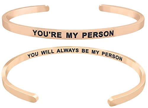 93ae93284e734 GLAM ''You're My Person You Will Always Be My Person'' Mantra Quote Cuff  Bracelet