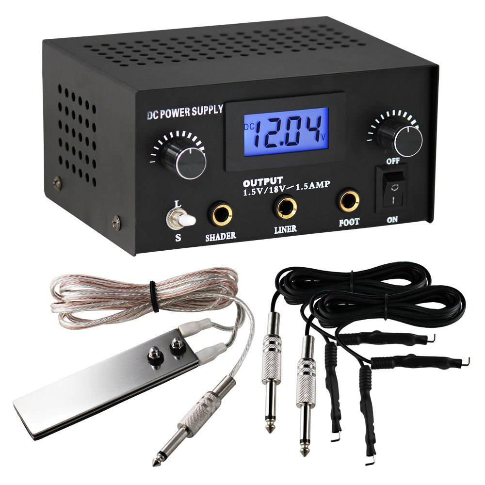 TattooStar Dual Digital Tattoo Power Supply with Foot Pedal and 2 Clip Cords, Black Color 1TattooWorld OTW-P008-3.1