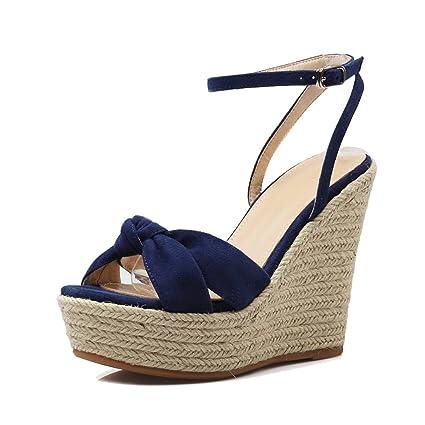 Sandali con tacco basso sexy da donna con plateau e tacchi alti. Scarpe  aperte ( 2b4d9c107e9