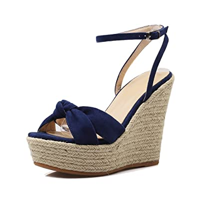 c0807b87edf6a7 Dream Women Sexy Thick Bottom Wedge Sandals Waterproof Platform High Heels  Elegant Open-toed Shoes (Color   Blue