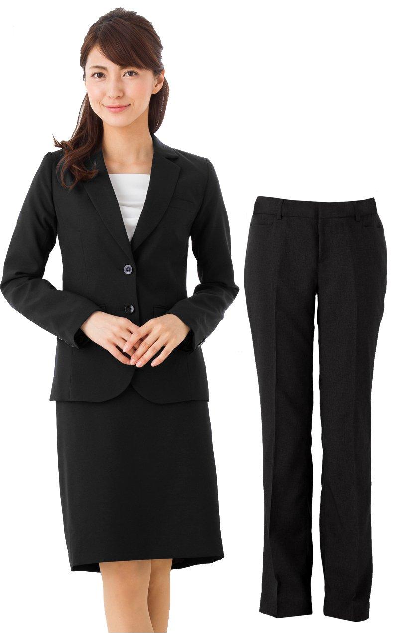 (アッドルージュ) スーツ レディース 3点セット タイトスカート パンツ ジャケット 洗える 洗濯 消臭抗菌【j5001-5002】 B00R4ERG1G 19号ABR|【B/2つボタン】ブラック 【B/2つボタン】ブラック 19号ABR
