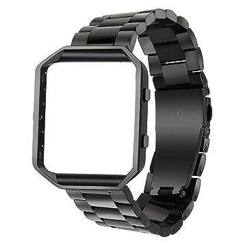 TRUMiRR para Fitbit Blaze Band, Banda de Reloj Inteligente con Marco de Metal de Acero Inoxidable Correa de reemplazo para Fitbit Blaze: Amazon.es: Deportes ...