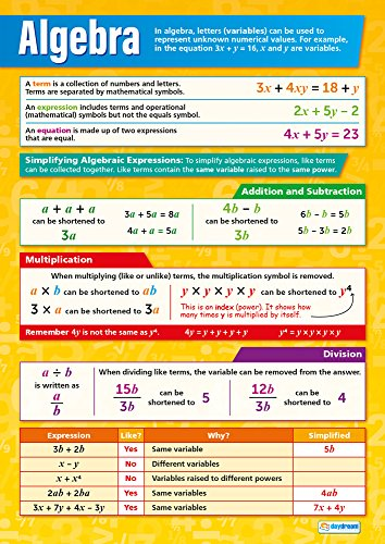 """Poster Algebra - Algebra   Math Posters   Gloss Paper Measuring 33"""" x 23.5""""   Math Charts for The Classroom   Education Charts by Daydream Education"""