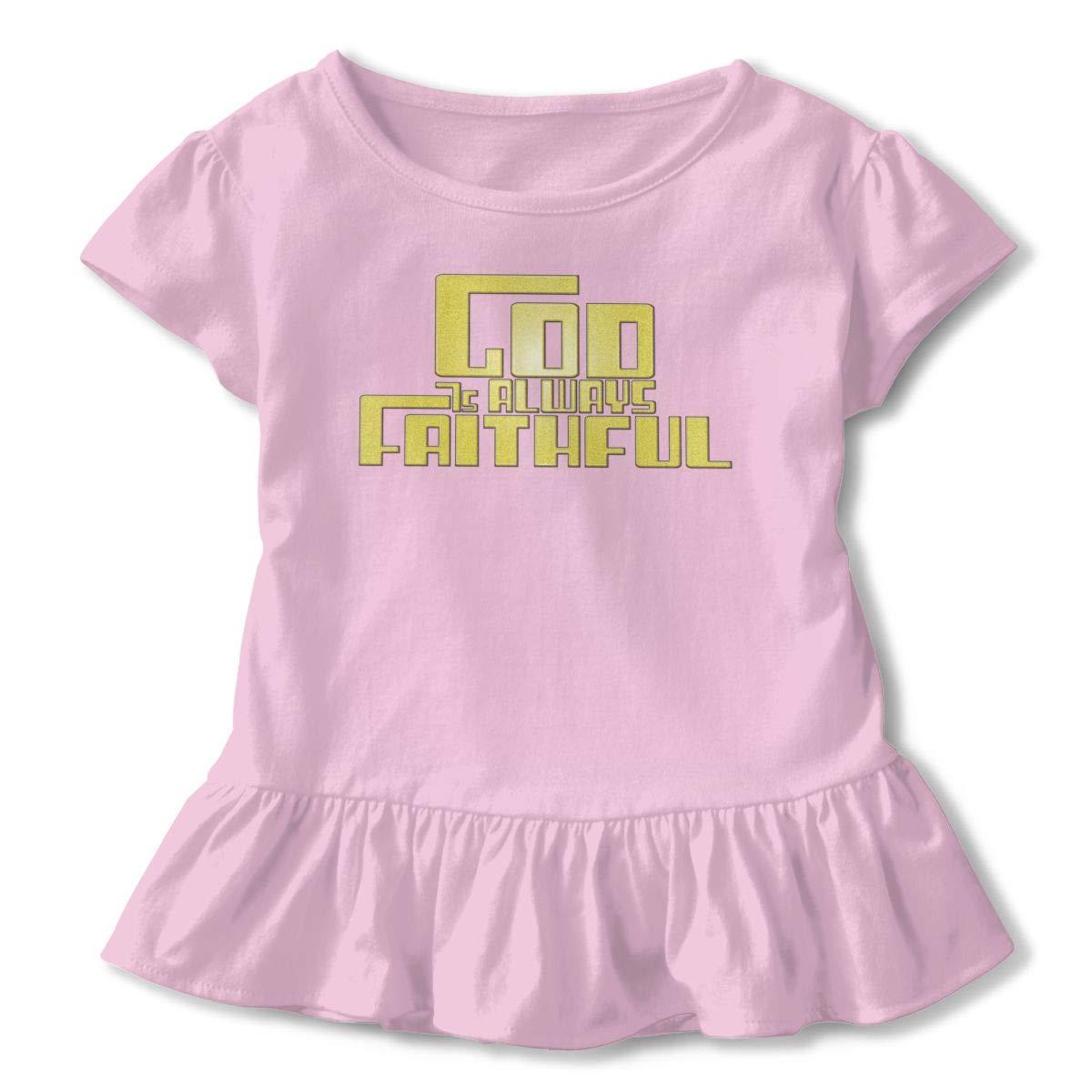 God is Always Faithful Toddler Baby Girl Ruffle Short Sleeve T-Shirt Cute Cotton T Shirts