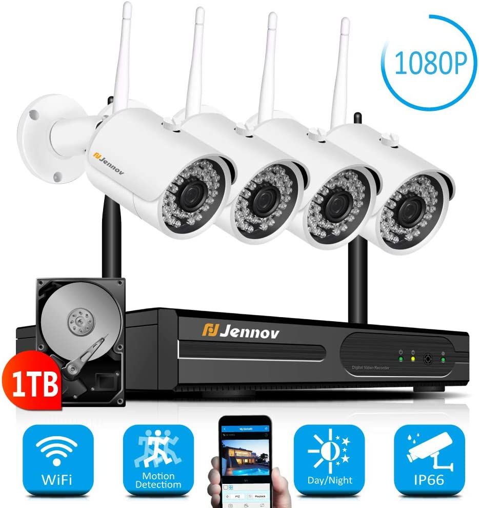 【Newest Strong WiFi Arrival】Jennov Security Camera System Outdoor Wireless 4 Channel HD 1080P WiFi Home IP Video Surveillance Night Vision NVR Kit With Pre-installed 1TB Hard Drive Free Remote Access 615dAc1FbUL