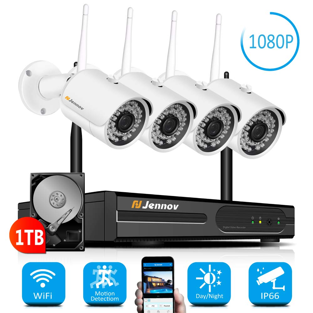 【Newest Strong WiFi Arrival】Jennov Security Camera System Outdoor Wireless 4 Channel HD 1080P WiFi Home IP Video Surveillance Night Vision NVR Kit With Pre-installed 1TB Hard Drive Free Remote Access by Jennov