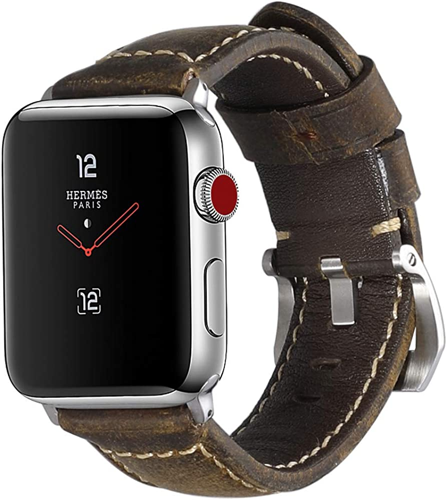 para Correas Apple Watch de 42mm 44mm, Correa de Reloj Vintage, Correa de Cuero Pre-V, Hebilla de Repuesto para la Serie Iwatch 3/2/1 Sports Edition CHIMAERA: Amazon.es: Relojes