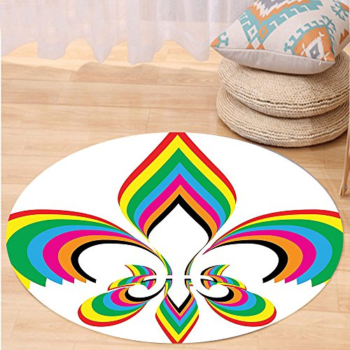VROSELV Custom carpetFleur De Lis Decor Collection An Illustration With Fleur De Lis In Colorful Rainbow Color Cheering Retro Art Bedroom Living Room Dorm Round 24 inches