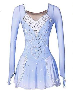 GW Chica Patinaje Sobre Hielo Vestidos Azul/Blanco Licra Alta Elasticidad Rendimiento Ropa de Patinaje Hecho a Mano Clásico/Moda Patinaje Sobre ...