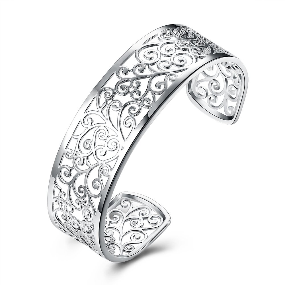Koyz Silver Plated Filigree Design Bangle Cuff Bracelet