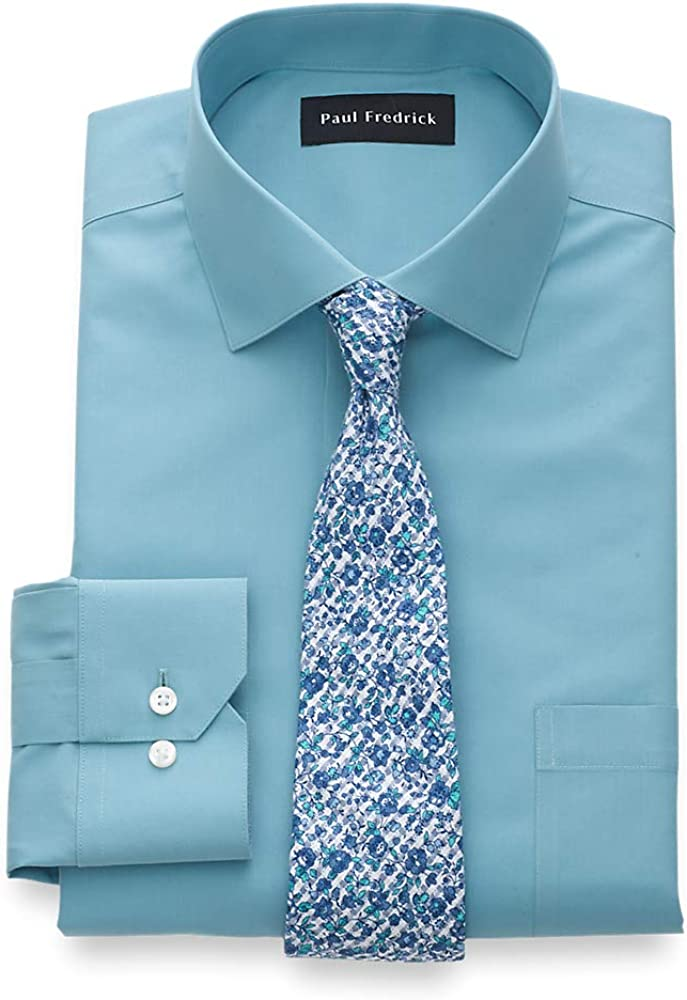 Paul Fredrick Mens Tailored Fit Non-Iron Cotton Solid Point Collar Dress Shirt