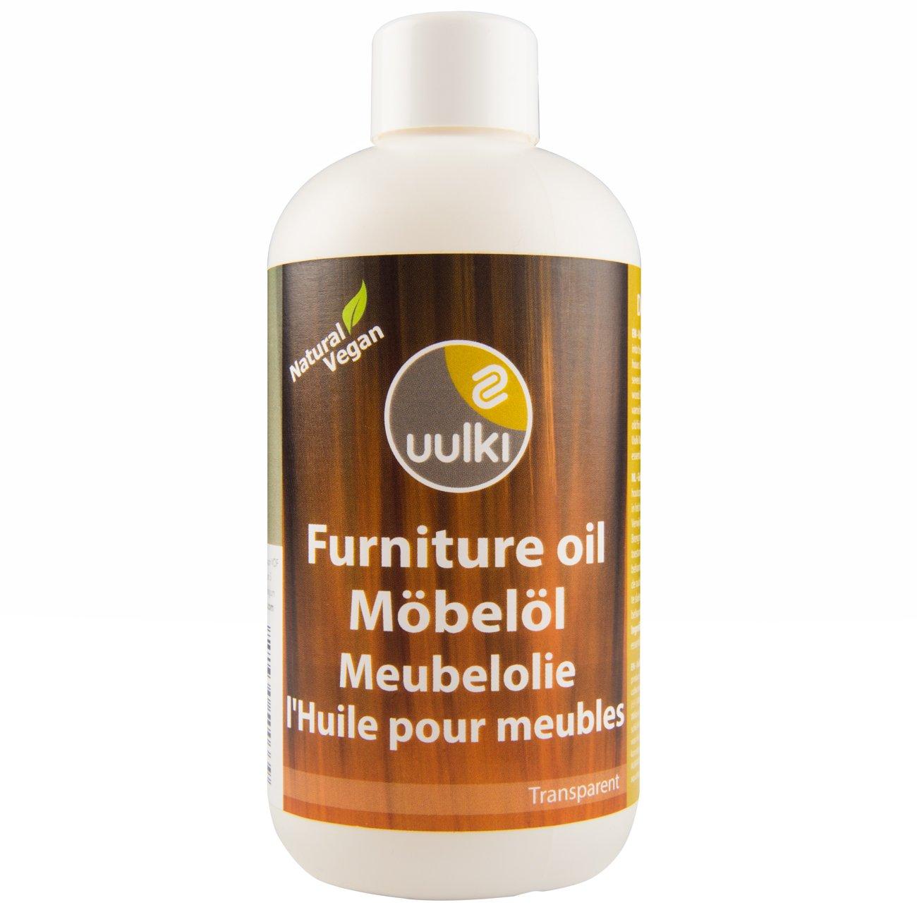 Uulki Aceite natural Aceite para muebles Cuidado de la madera - Proporciona protección desde el interior – 100% Vegetales / Veganos (250ml, incoloro)