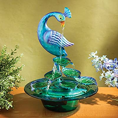 Bits and Pieces - Indoor/Outdoor Glass Peacock Fountain - Whisper Quiet, Zen Water Fountain Makes Perfect Tabletop Decoration - Compact and Lightweight