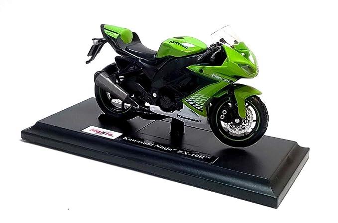 Kawasaki Ninja ZX-10R en verde de Maisto 1/18 modelo a ...